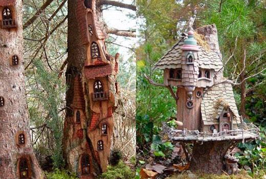 Домики гномов в деревьях и пнях