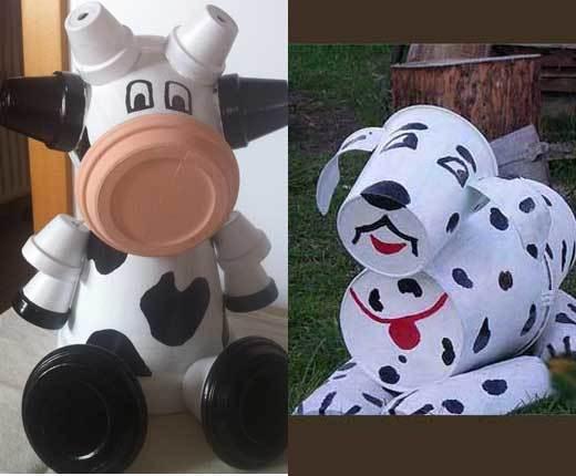 корова и собака из горшков