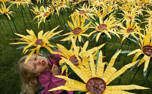 цветы желтые из бутылок