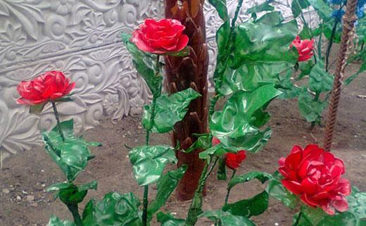 куст роз из бутылок