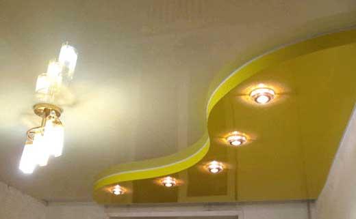 потолок натяжной светильники