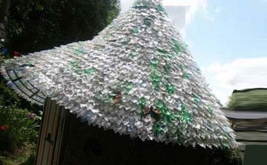 крыша беседки из пластиковых бутылок