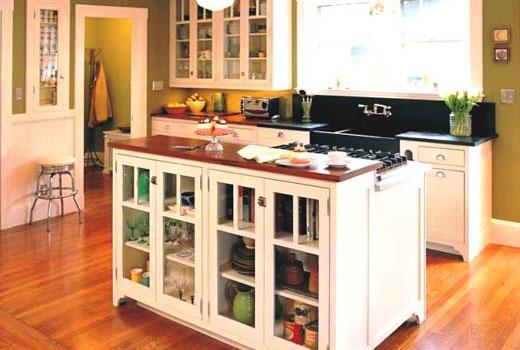 место хранения в острове кухни
