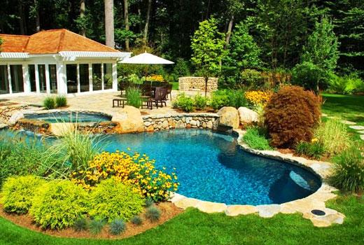 каменная отделка бассейна