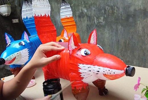 Покраска поделок из пластиковых бутылок
