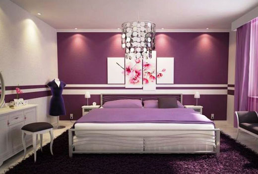 спальня лавандового цвета