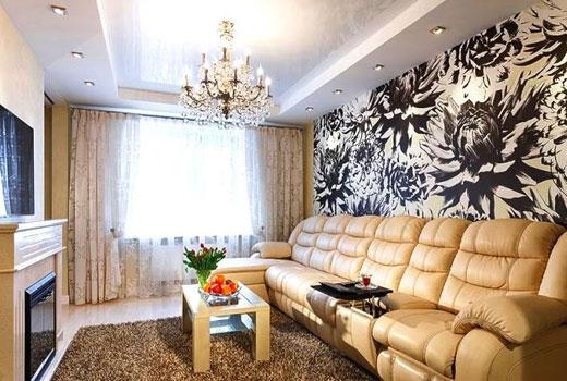 акцентная стена в гостиной