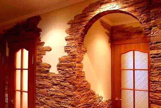 декор стен коридора камнем
