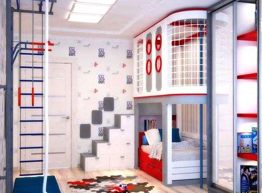 двухъярусная кровать для просторной детской комнаты