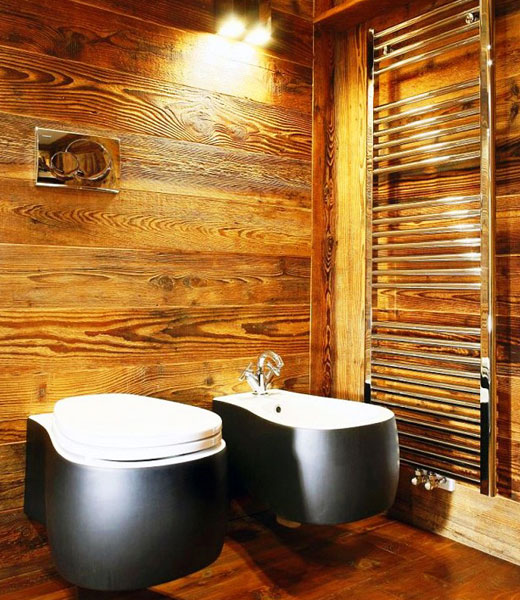 красивая деревянная отделка ванной