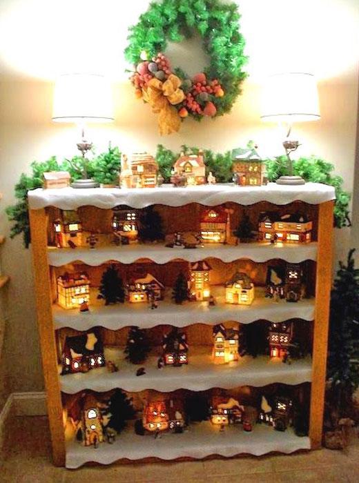 композиция новогодняя в шкафчике