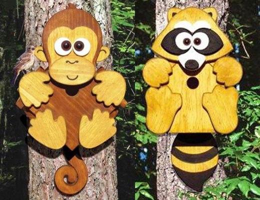 обезьяна и енот из фанеры