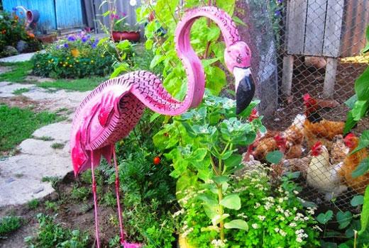 фламинго из шины