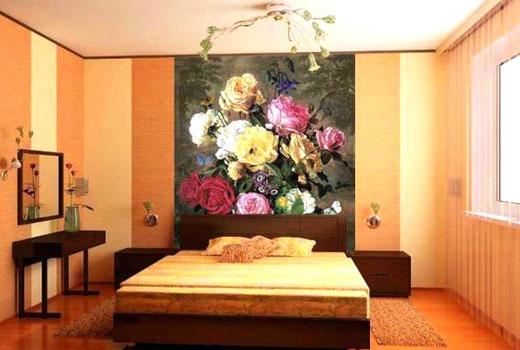 фотообои в спальне цветы
