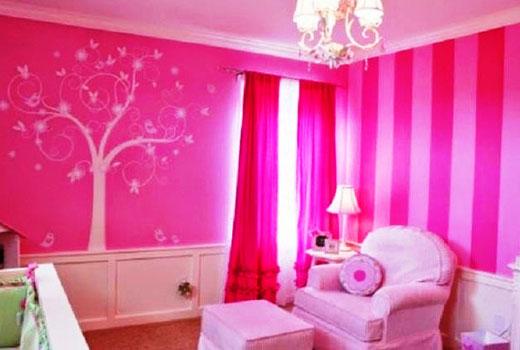 Розовые фотообои