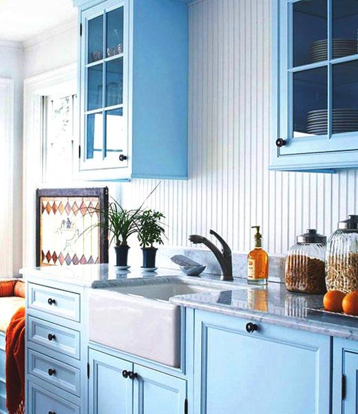 отделка кухни голубая
