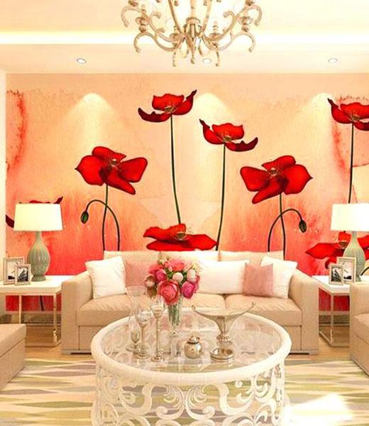 обои тюльпаны в гостиной