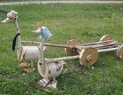 Гусь и гусыня для сада из дерева