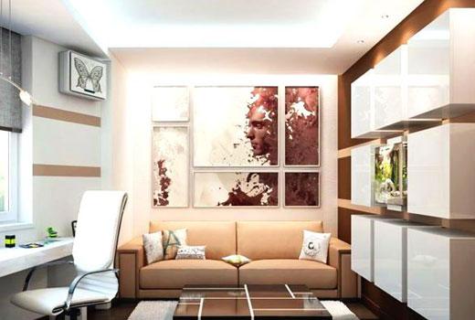 декор стен маленькой гостиной