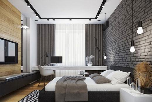 серый кирпич в спальне
