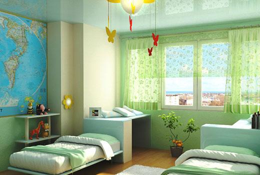 комната школьника в зеленых тонах