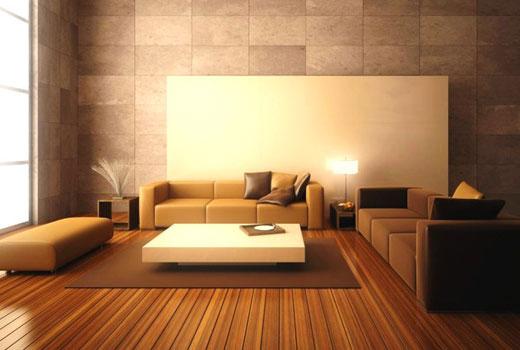 коричневый ковер в гостиной