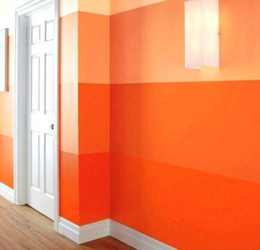 оранжевая гамма в коридоре