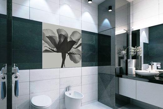 красивая черно-белая ванная