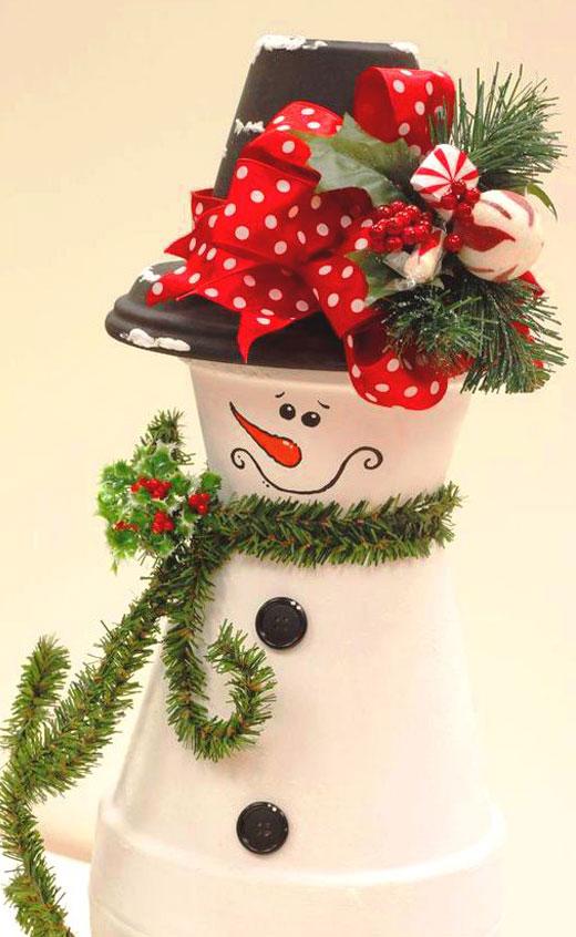 красивый снеговик из горшков
