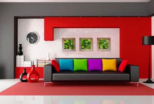 Красная стена интерьер