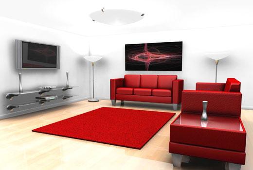 красный коврик в гостиной