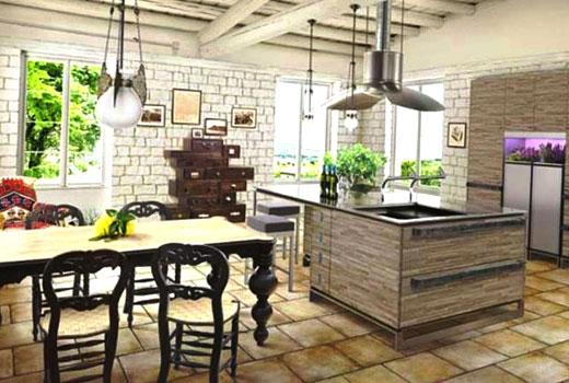 отделка стен кухни прованс