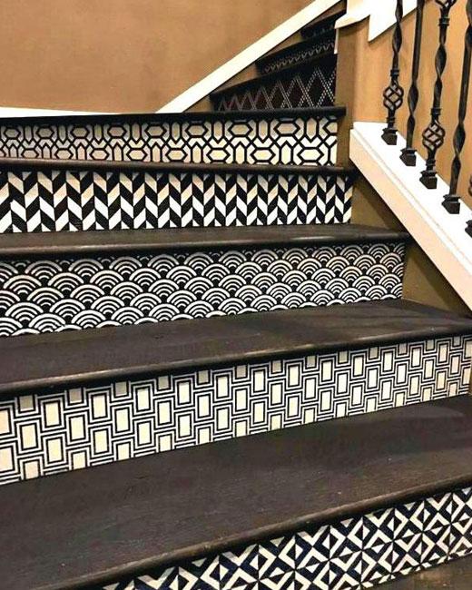 покраска лестницы трафаретом