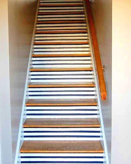 полосатые ступени покраска лестницы