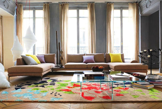 коврик лотосы в гостиной