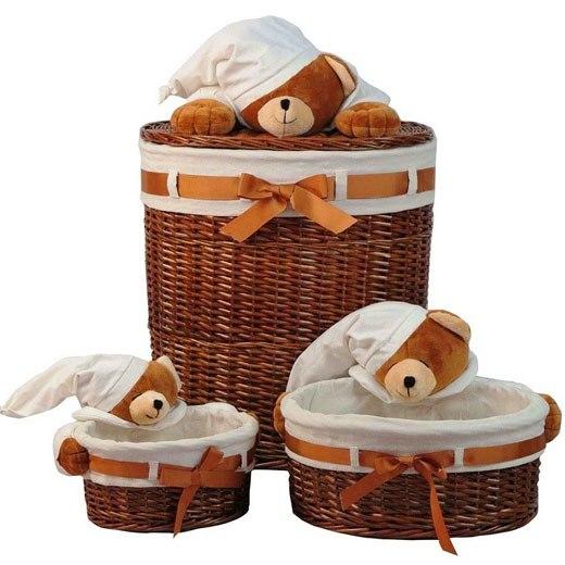 Корзины плетеные с медведями