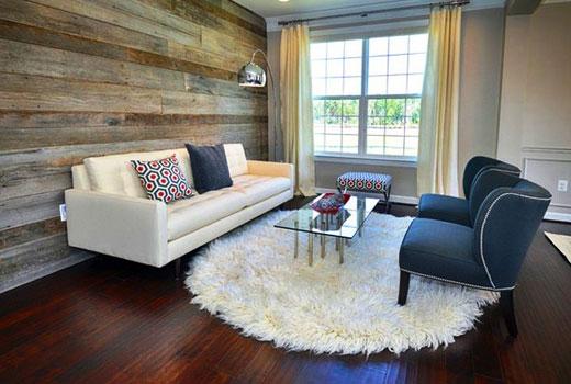 круглый коврик с длинным ворсом в гостиной