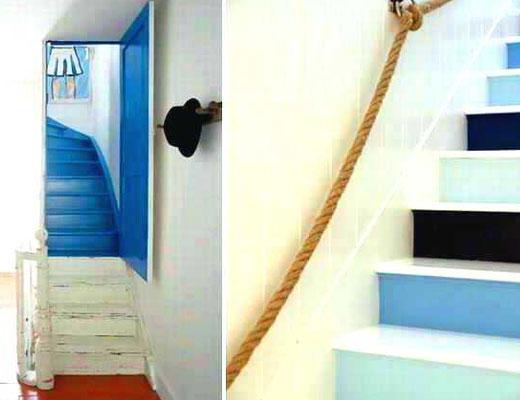 лестница в морском стиле покраска