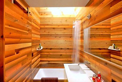 натуральные обои дерево в ванной