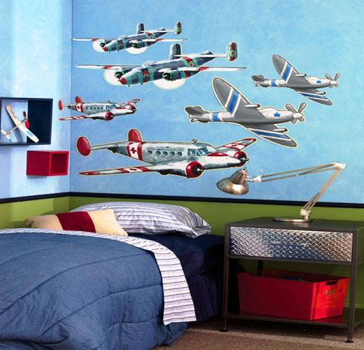 отделка комнаты мальчики самолеты