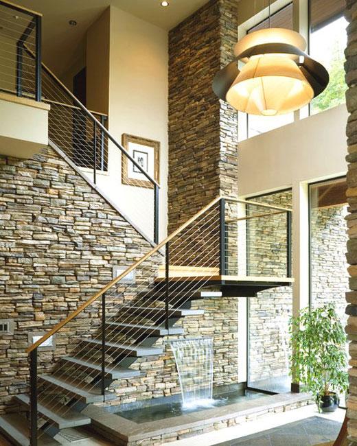 лестница отделка камнем искусственным