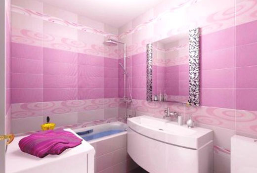 розовые панели в ванную