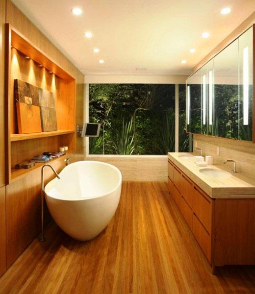 панели из дерева в ванную