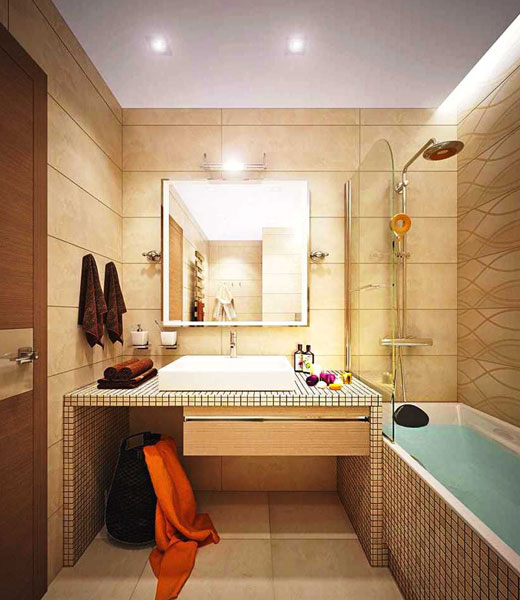 бежевые панели в ванной