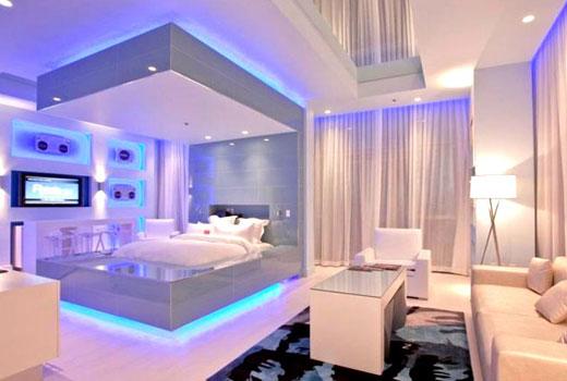 эффектная подсветка потолка в спальне