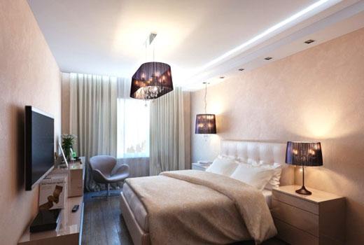 белый потолок спальня