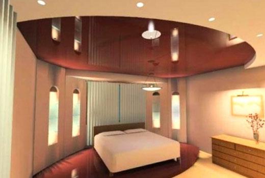 двуцветный потолок в спальне