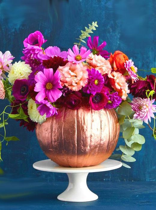 Хэллоуин тыква с цветами
