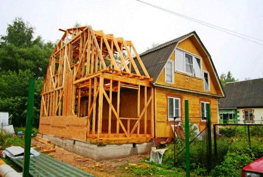 деревянный дом пристройка