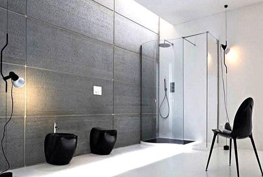 отделка ванной серые панели